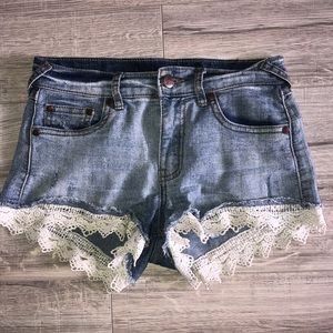 Jean shorts lace bottom white boho style denim